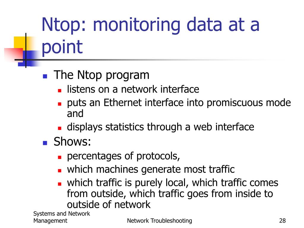 Ntop: monitoring data at a point