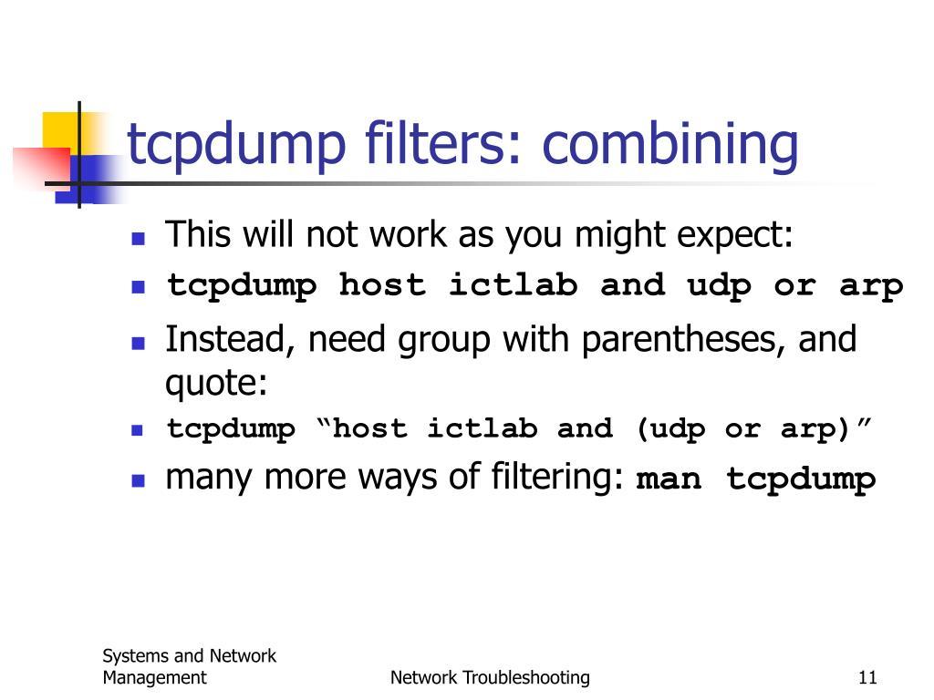 tcpdump filters: combining