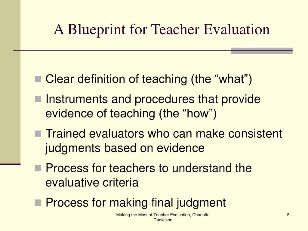 A Blueprint for Teacher Evaluation