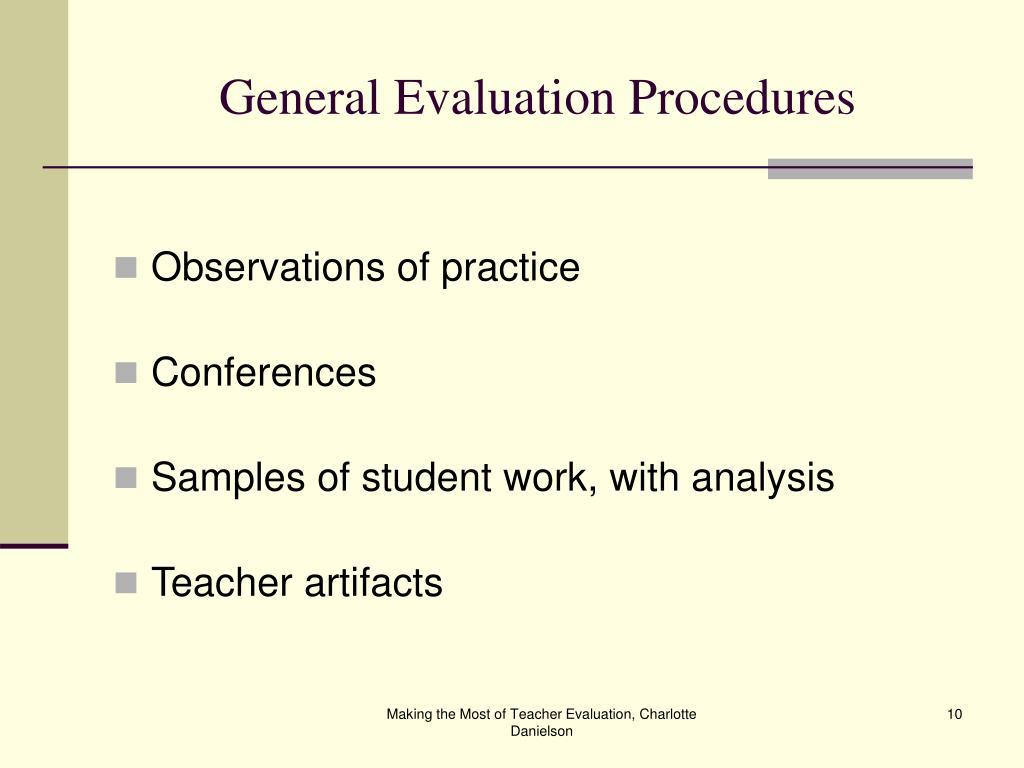 General Evaluation Procedures