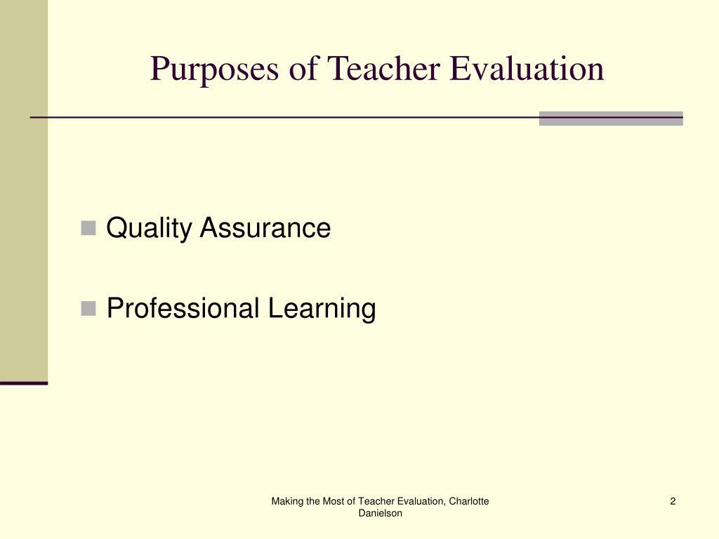 Purposes of Teacher Evaluation
