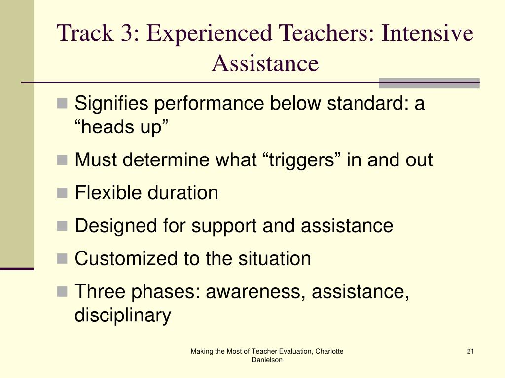 Track 3: Experienced Teachers: Intensive Assistance