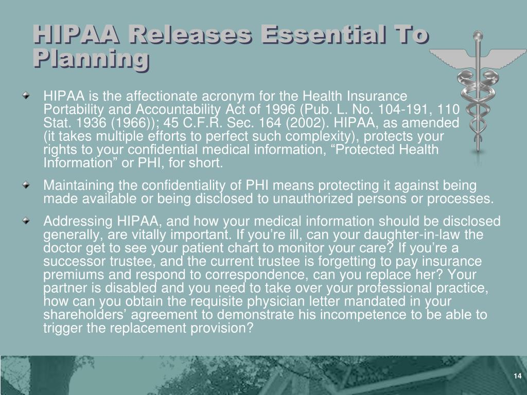 HIPAA Releases Essential To Planning