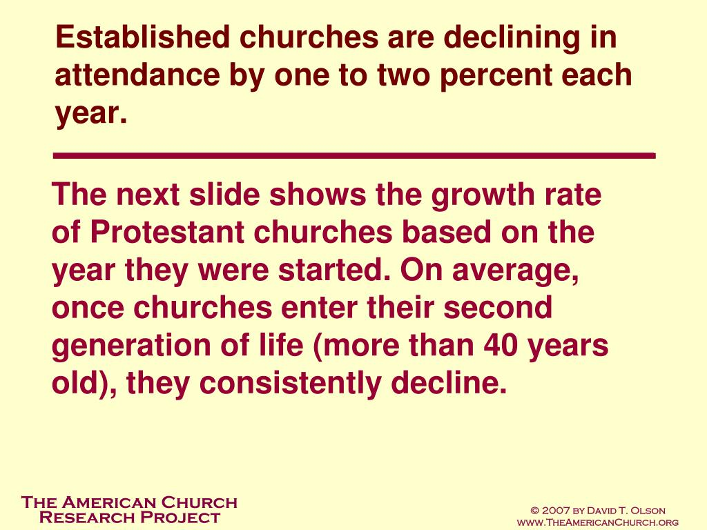 Established churches are declining in attendance by one to two percent each year.