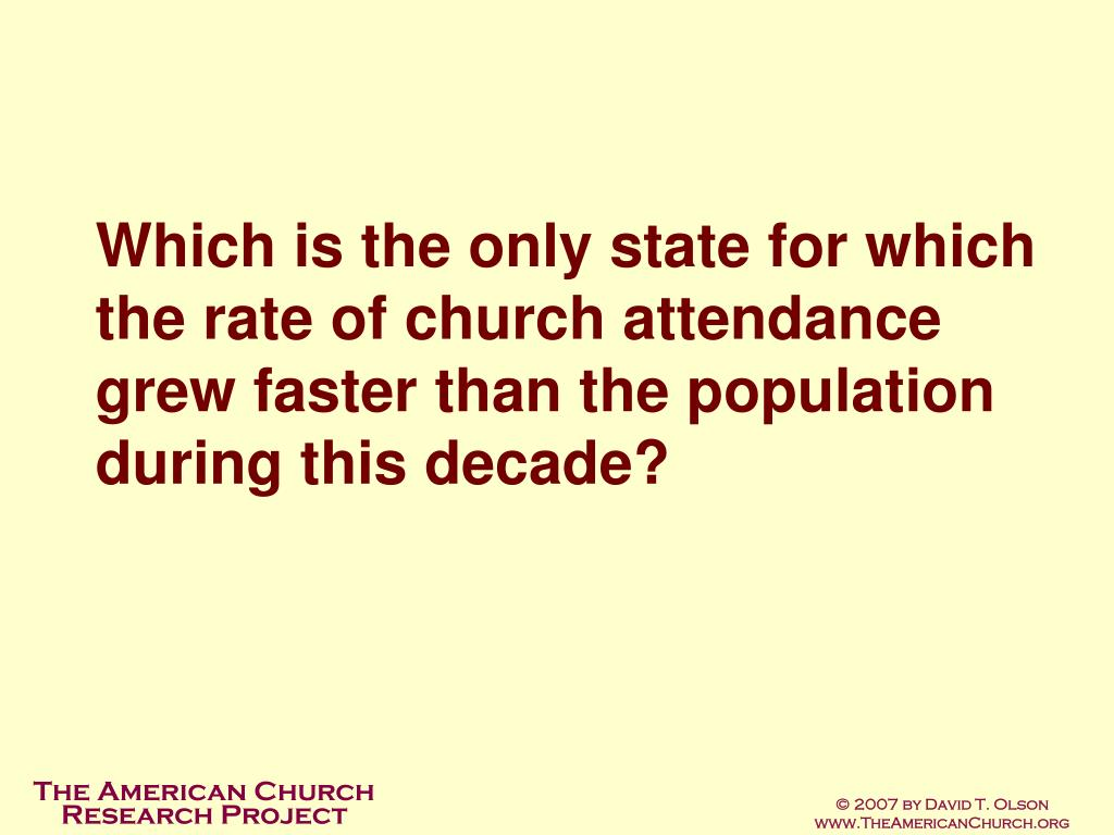 Which is the only state for which the rate of church attendance grew faster than the population during this decade?