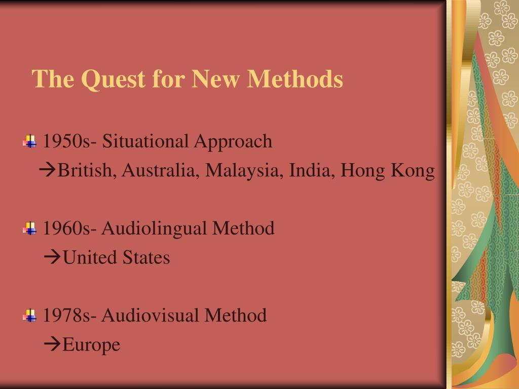 The Quest for New Methods