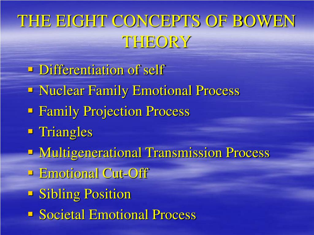 bowen family theory 8 concepts 2 bowen family systems theory basic clinical certificate & evening workshop series facilitated by charles m white, lcsw, lcadc center for family, organizational, and natural systems.