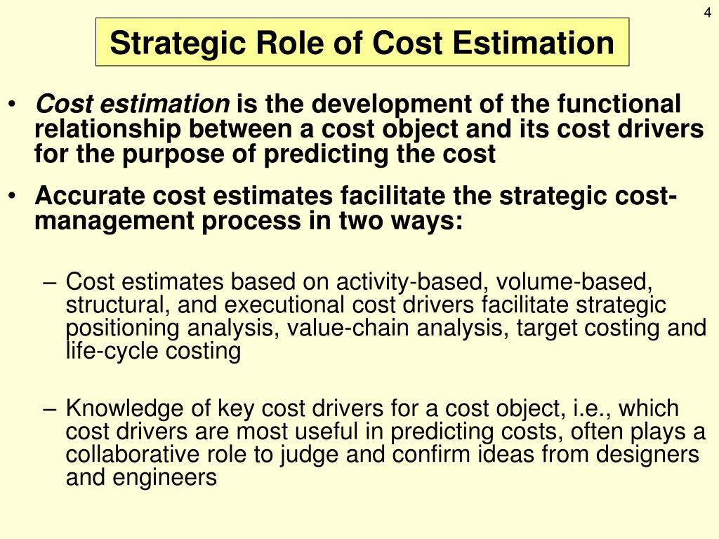 strategic role of cost estimation Hr needs analysis and cost estimation  an hris cba it ignores hr's more strategic role in improving organizational effectiveness in.