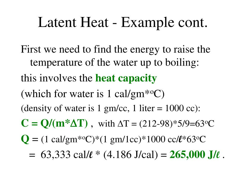 Latent Heat - Example cont.