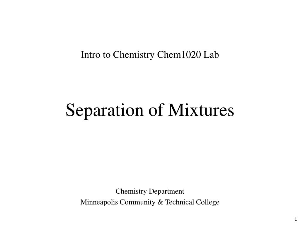 separation of mixtures lab