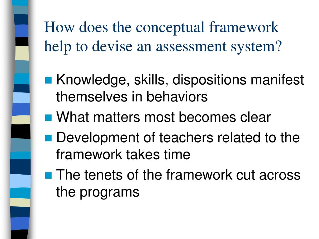 How does the conceptual framework help to devise an assessment system?