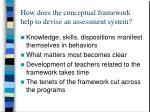 how does the conceptual framework help to devise an assessment system