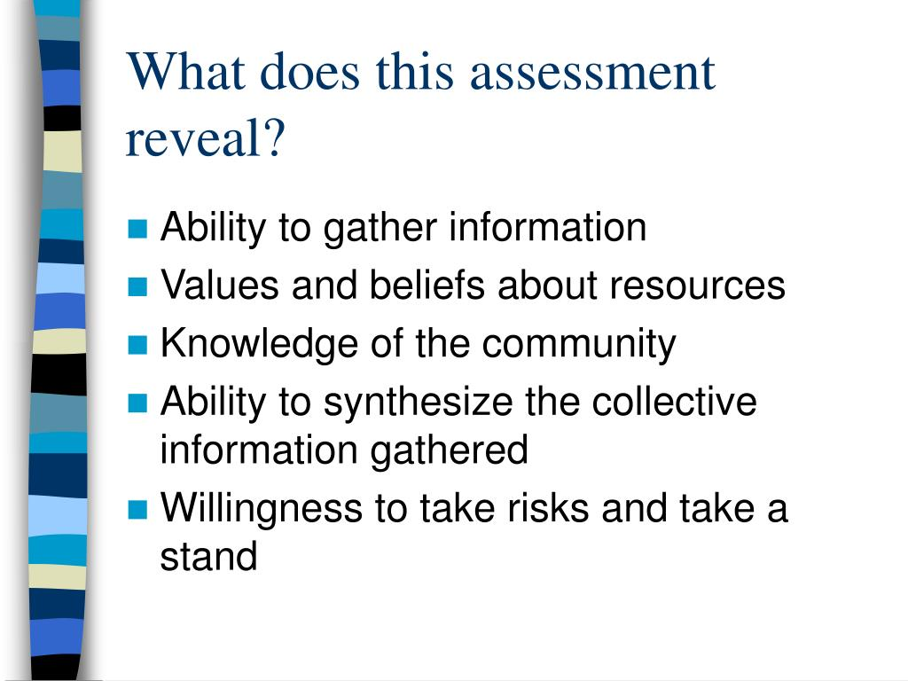 What does this assessment reveal?