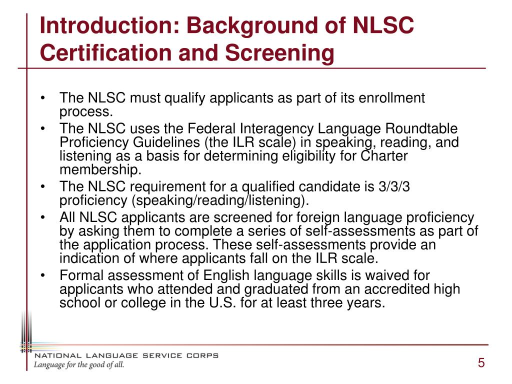 Introduction: Background of NLSC Certification and Screening