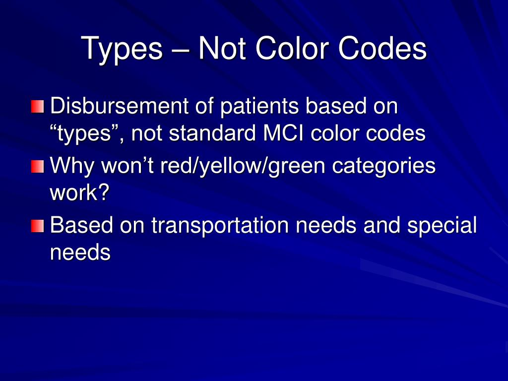 Types – Not Color Codes