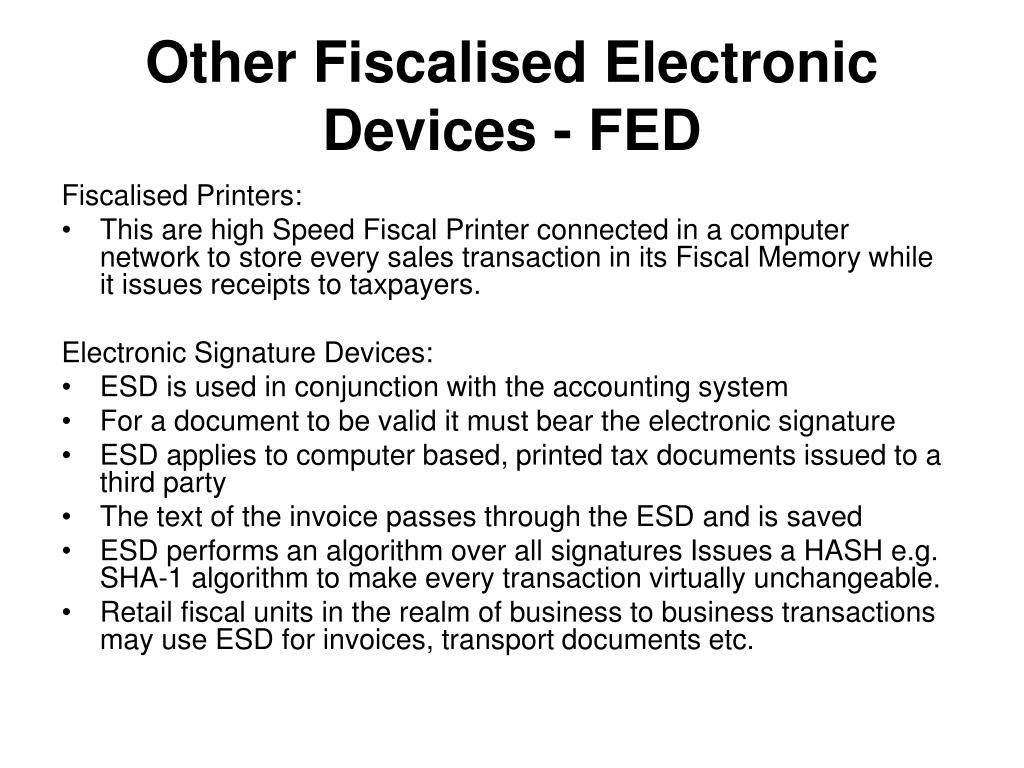 Other Fiscalised Electronic Devices - FED