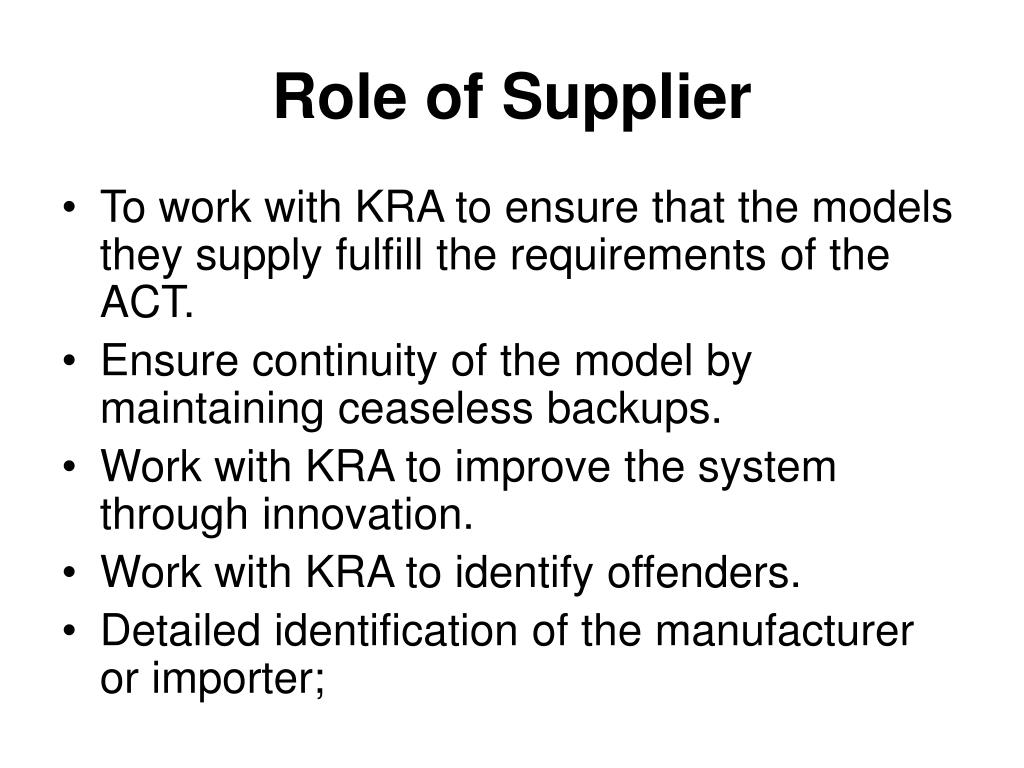 Role of Supplier