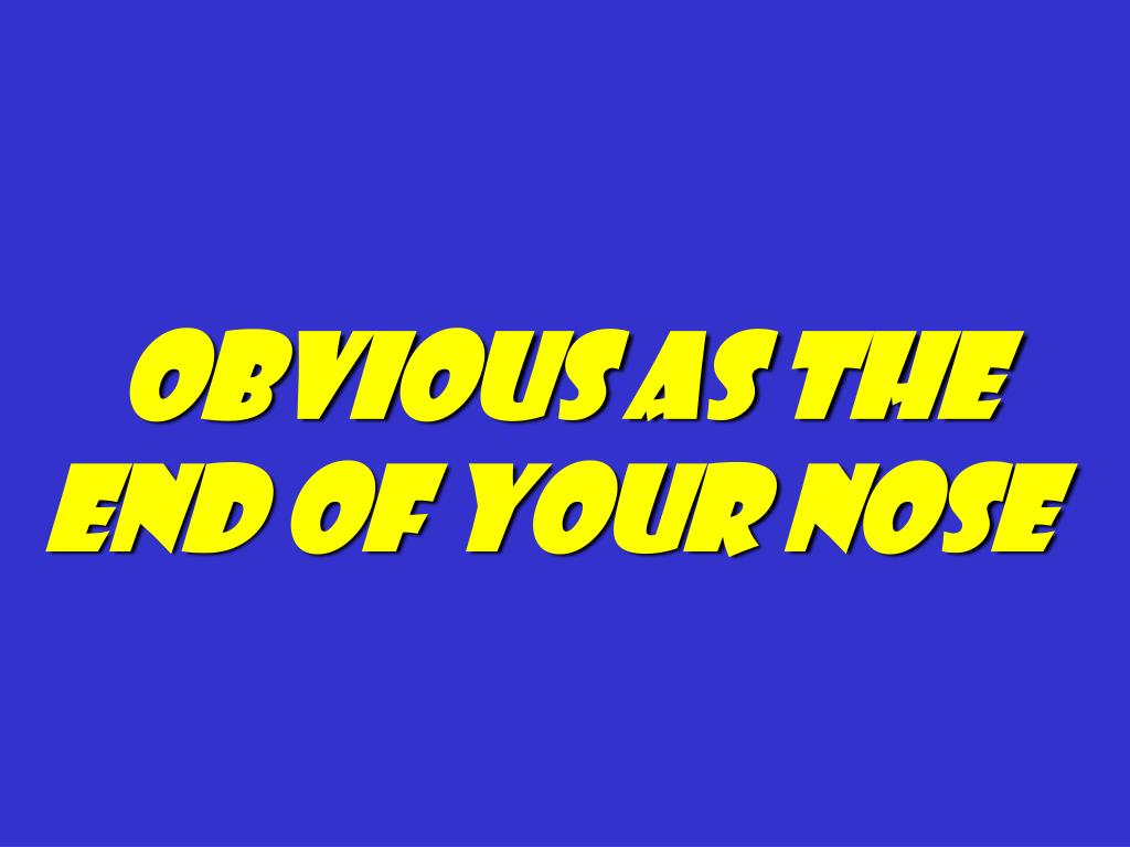Obvious as the end of your nose