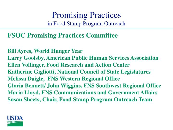 Promising practices in food stamp program outreach2