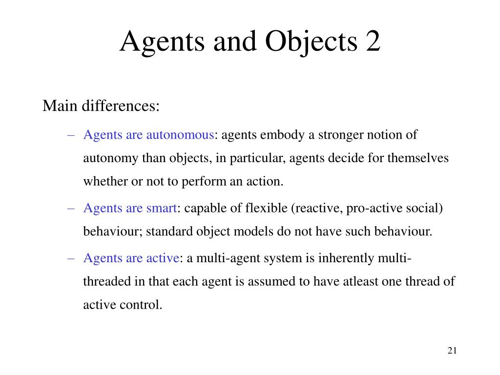 Agents and Objects 2