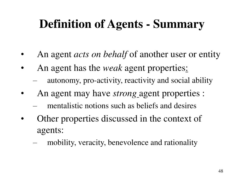 Definition of Agents - Summary