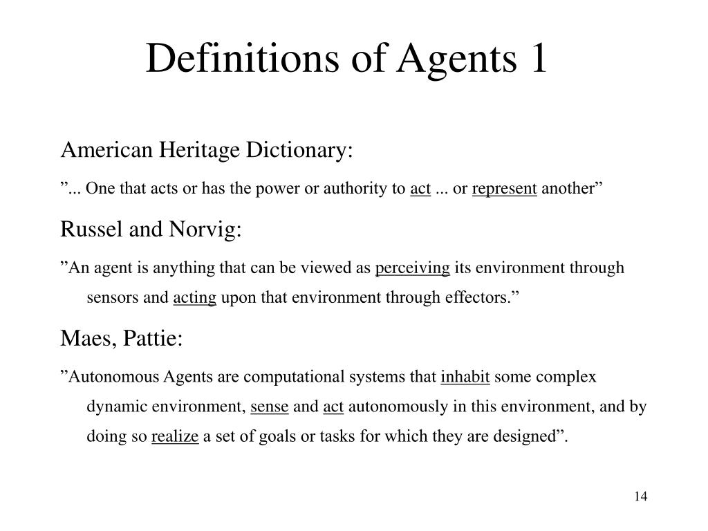 Definitions of Agents 1