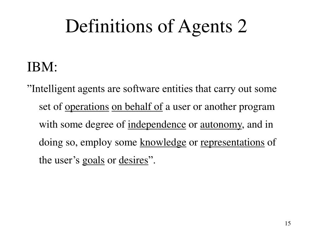 Definitions of Agents 2