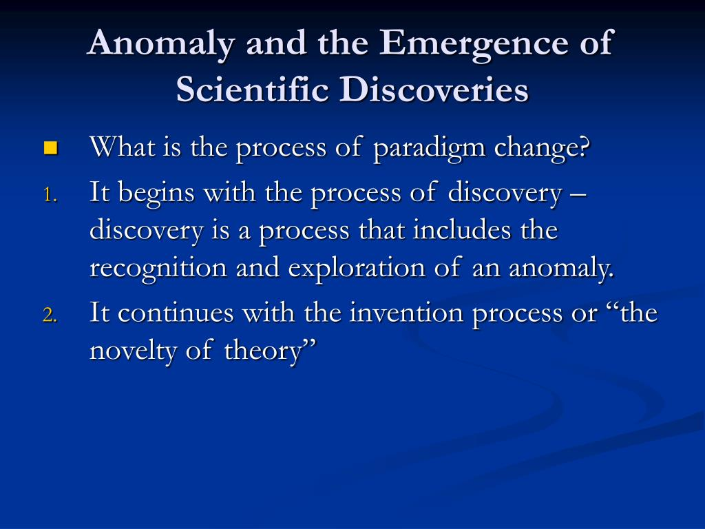 Anomaly and the Emergence of Scientific Discoveries