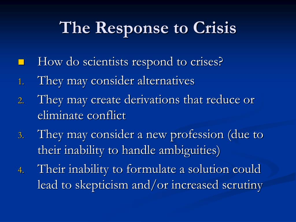 The Response to Crisis