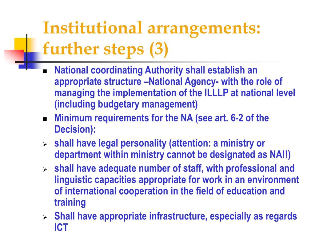 Institutional arrangements: further steps (3)