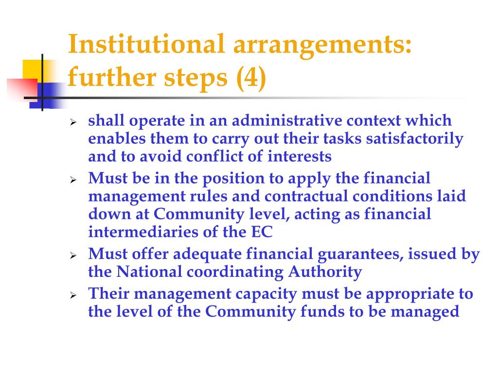 Institutional arrangements: further steps (4)