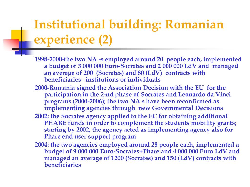 Institutional building: Romanian experience (2)