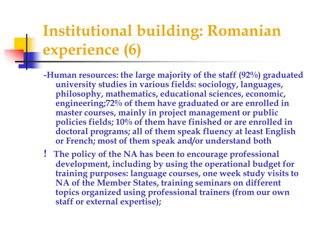 Institutional building: Romanian experience (6)