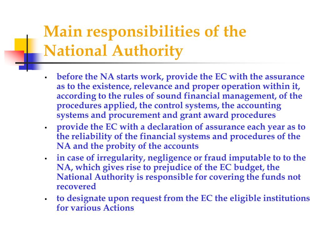 Main responsibilities of the National Authority
