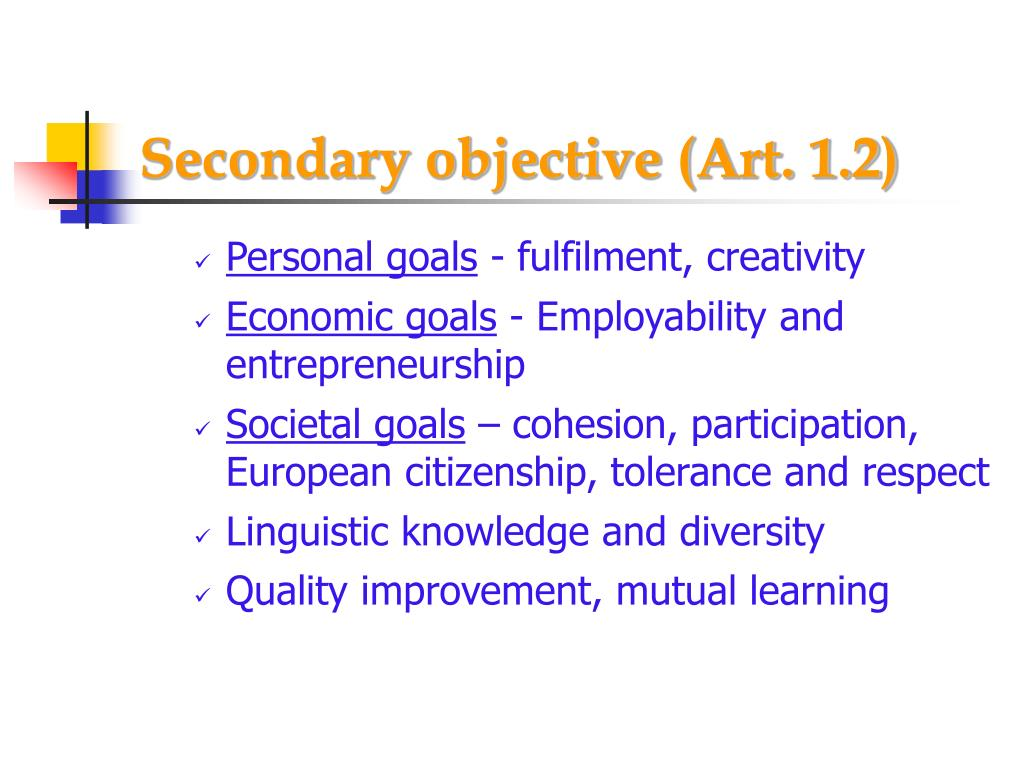 Secondary objective (Art. 1.2)