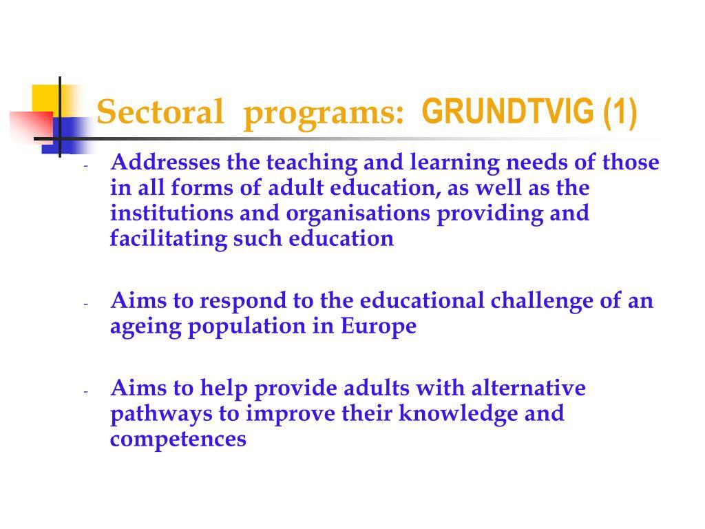 Sectoral  programs: