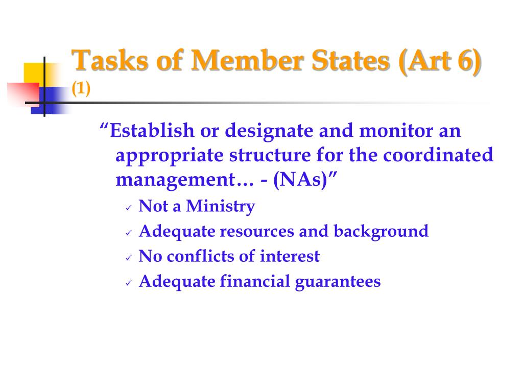 Tasks of Member States (Art 6)