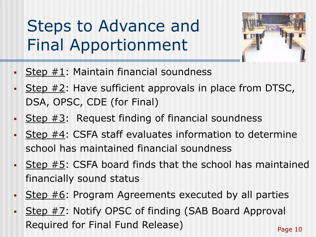 Steps to Advance and Final Apportionment