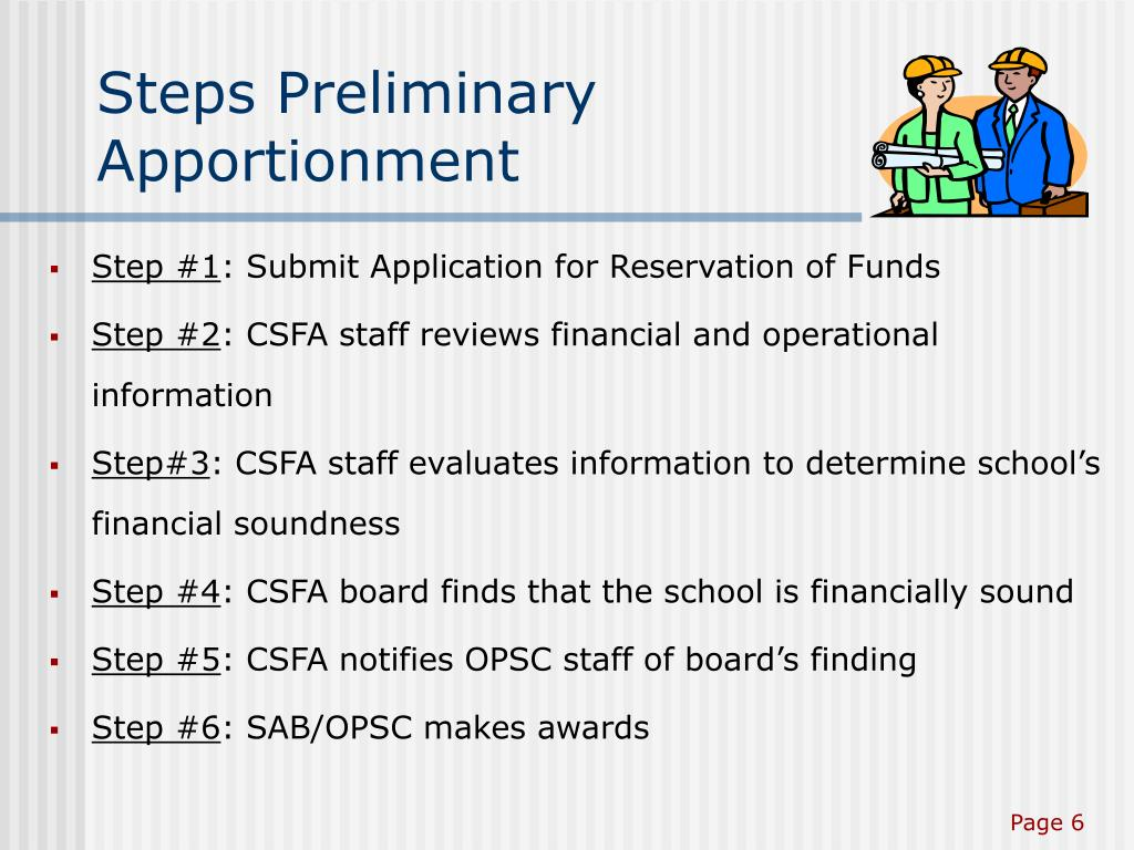 Steps Preliminary Apportionment