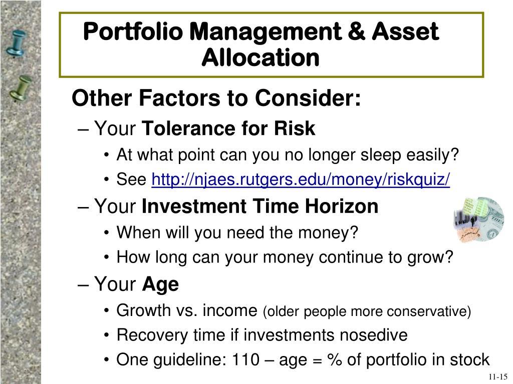 Portfolio Management & Asset Allocation