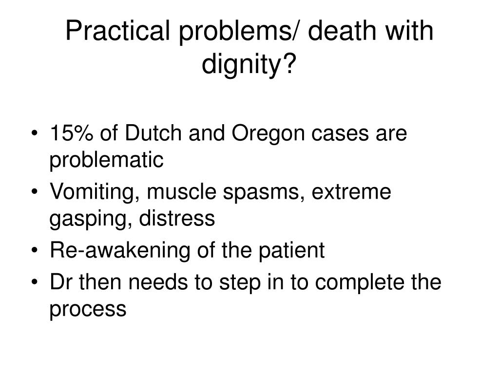 Practical problems/ death with dignity?