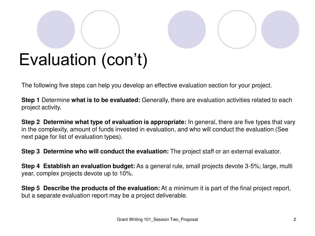 Evaluation (con't)