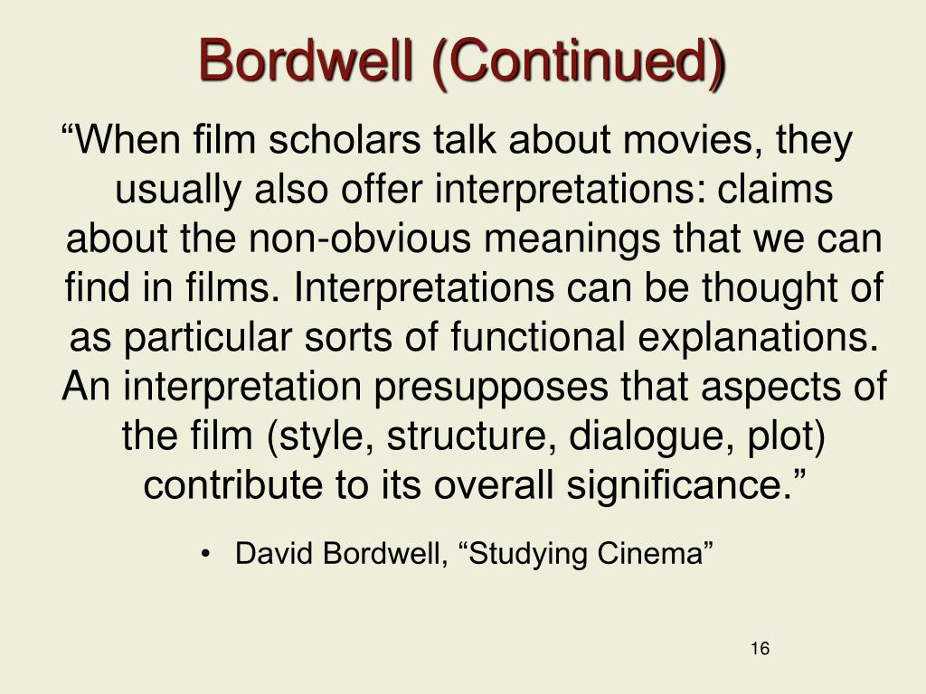 Bordwell (Continued)