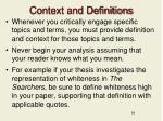 context and definitions