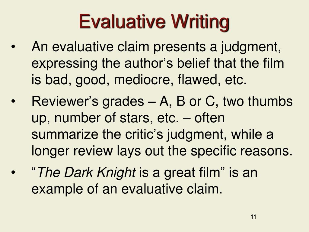 Evaluative Writing