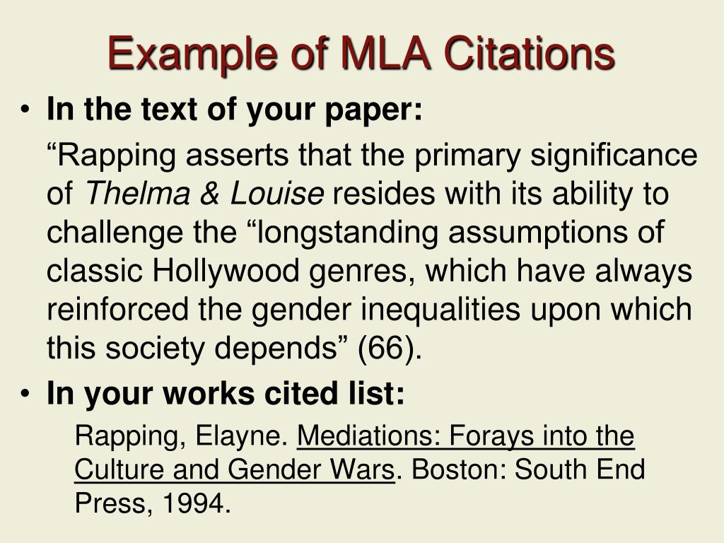 Example of MLA Citations