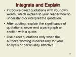integrate and explain