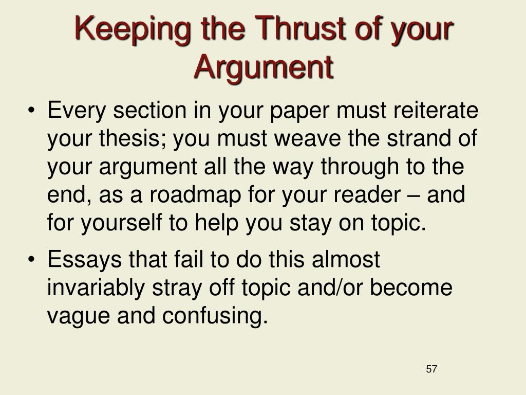 Keeping the Thrust of your Argument