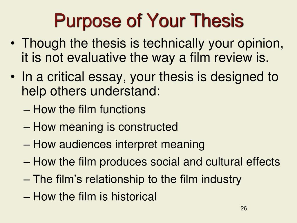 Purpose of Your Thesis