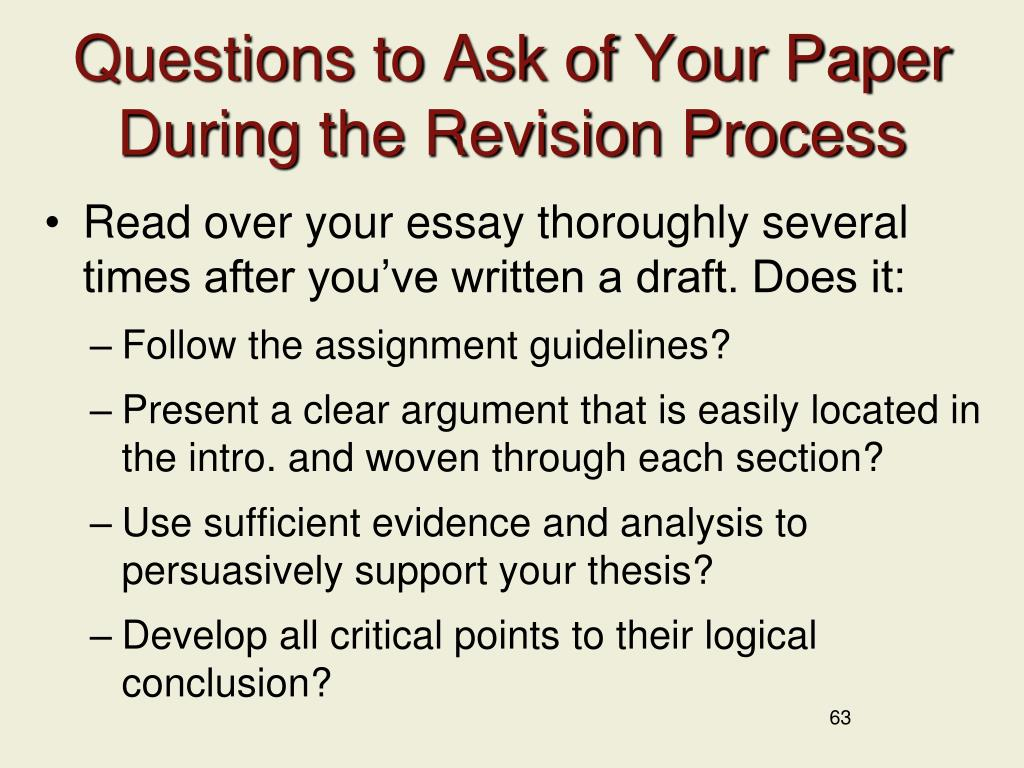Questions to Ask of Your Paper During the Revision Process